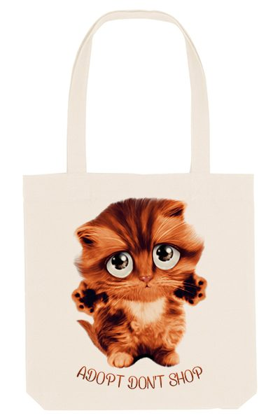 Chat « Adopt don't shop » Tote bag 100% recyclé