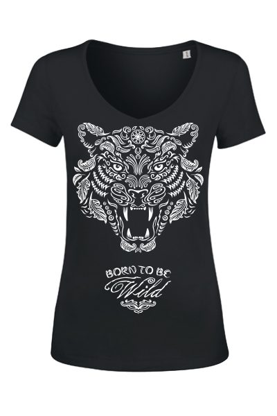 "Tigre ""Born to be wild"" t-shirt femme en coton bio"