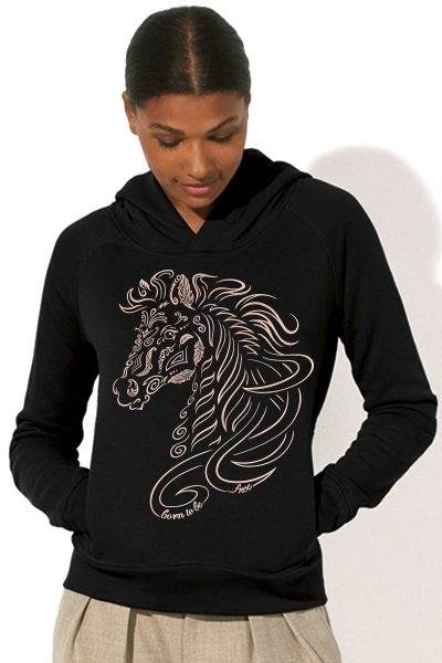Cheval « Born to be free » sweat à capuche femme en coton bio