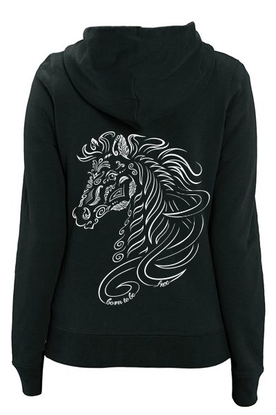 "Cheval ""Born to be free"" sweat zippé femme en coton bio"