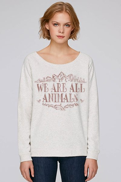 """we are all animals"" sweat femme en coton bio"