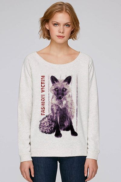 "Renard ""Fashion victim"" sweat femme en coton bio"