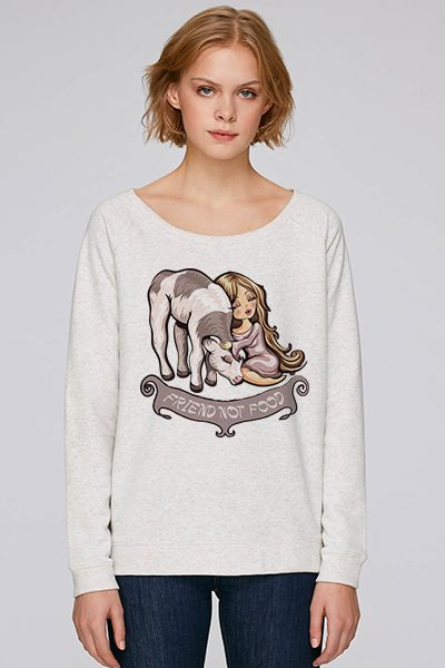 """friend not food"" sweat femme en coton bio"