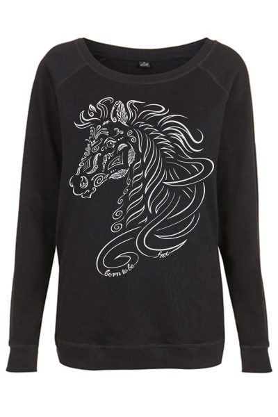 Femme-sweatshirt-simple-coton-bio-Noir-Cheval