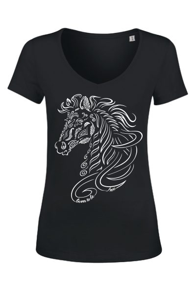 "Cheval ""Born to be free"" T-shirt femme en coton bio"