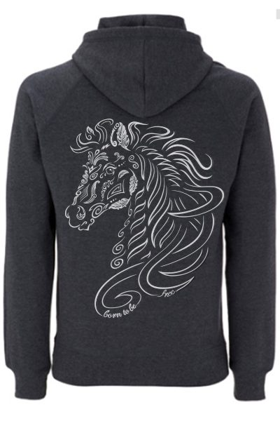 Cheval « Born to be free » sweat à capuche unisex 100% recyclé