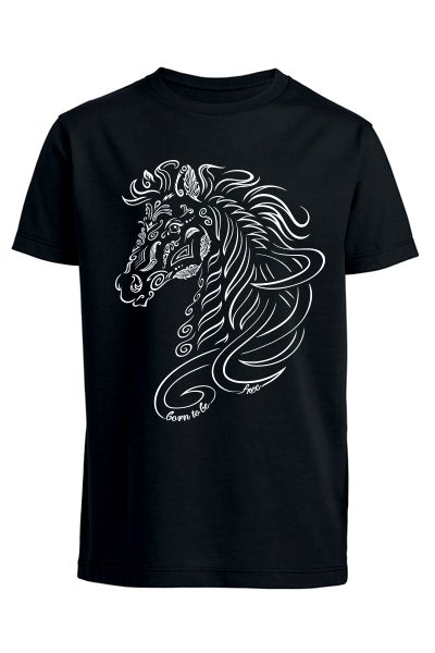"Cheval ""Born to be free"" T-shirt enfant en coton bio"