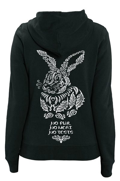 "Lapin ""No Fur No Meat No Tests"" sweat zippé femme en coton bio"
