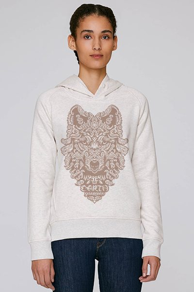 Loup « Earth guardian » sweat à capuche femme en coton bio