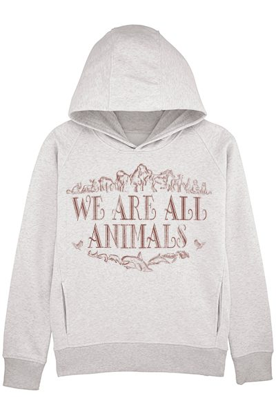 """We are all animals"" sweat à capuche femme en coton bio"
