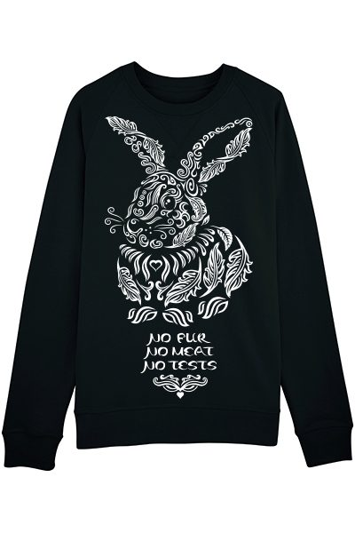 "Lapin ""No fur No meat No tests"" sweat homme en coton bio"