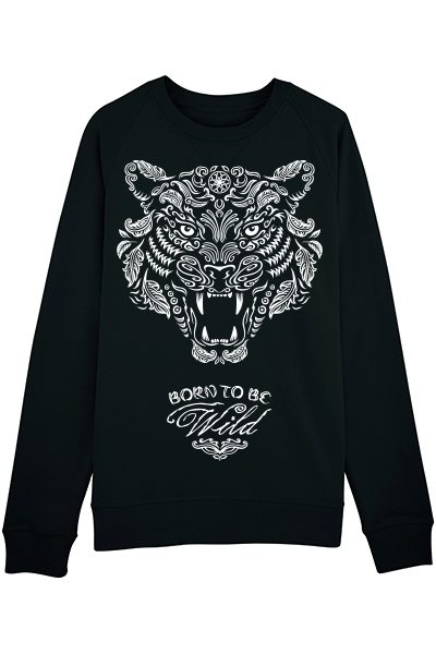 "TIgre ""Born to be wild"" sweat homme en coton bio"