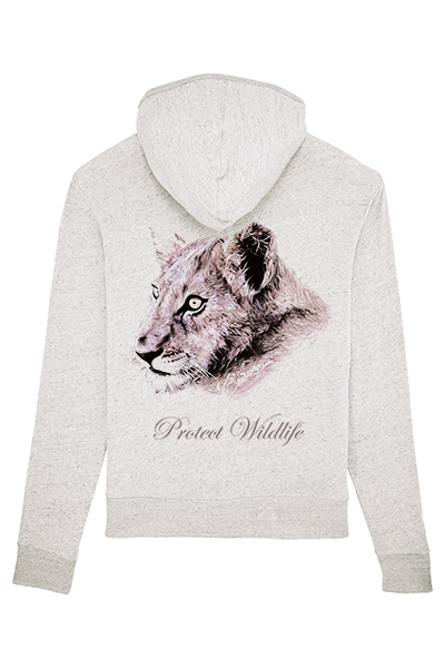 Lion « Protect Wildlife » sweat léger à capuche zippé