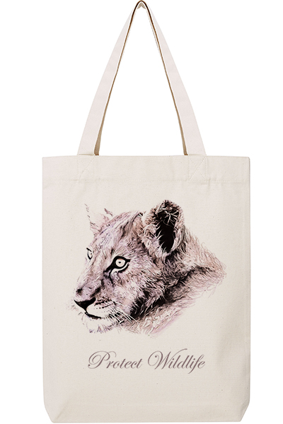 "Lion ""Protect Wildlife"" Sac en coton et polyester recyclé"