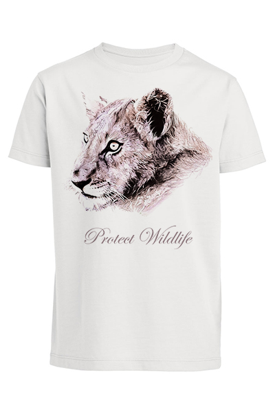 "Lion ""Protect Wildlife"" T-shirt enfant en coton bio"