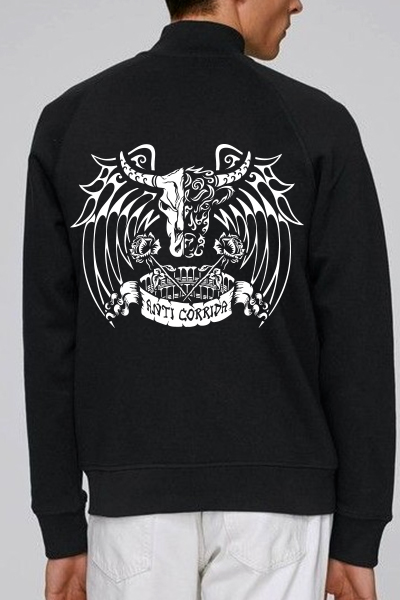 "Taureau ""anticorrida"" sweat zippé en coton bio"