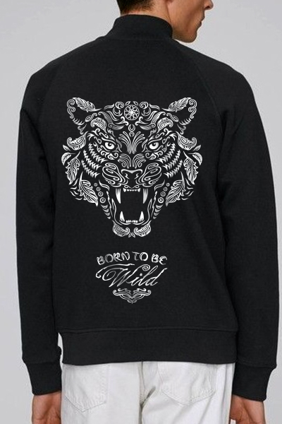 "Tigre ""Born to be wild"" sweat zippé en coton bio"