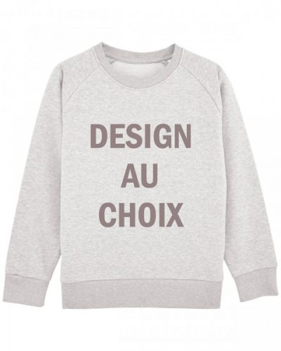 Sweat mixte blanc chiné – design au choix